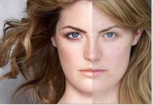 Basic woman on right. Makeup applied on the left.