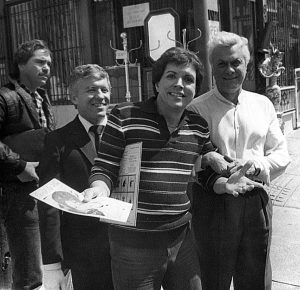 David outside his San Francisco salon with Tony Curtis.