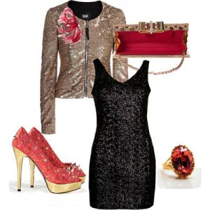 LBD with sequin accessories_