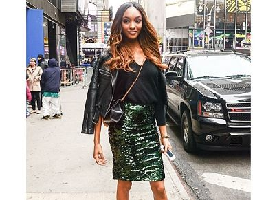 Jourdan Dunn in sequined skirt