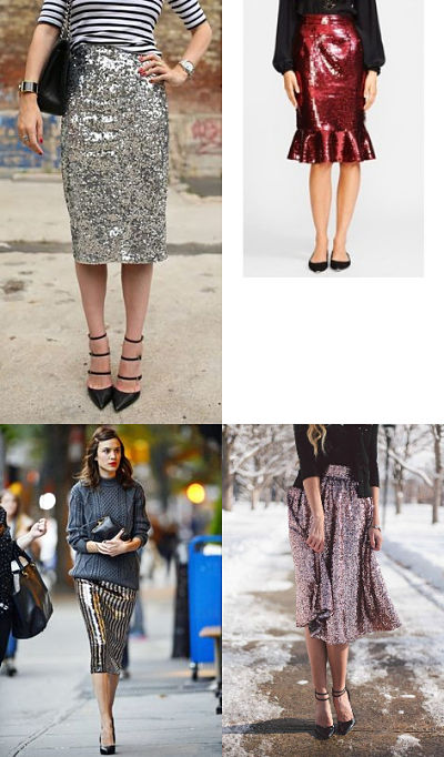 midi length sequin skirts