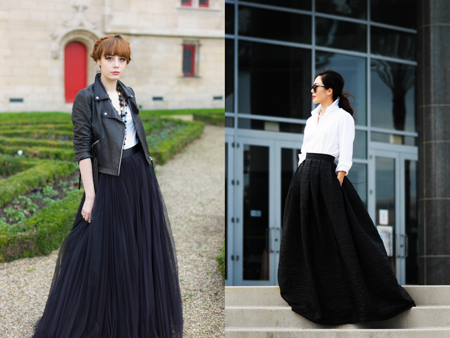 tulle maxi and dressy black and white maxi outfit