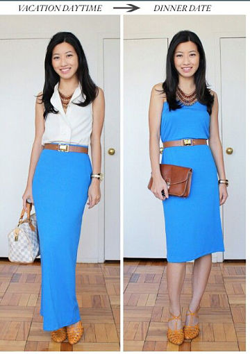maxi skirt the day, a dress at night
