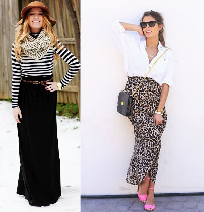 leopard pring and black maxi with striped shirt and scarf