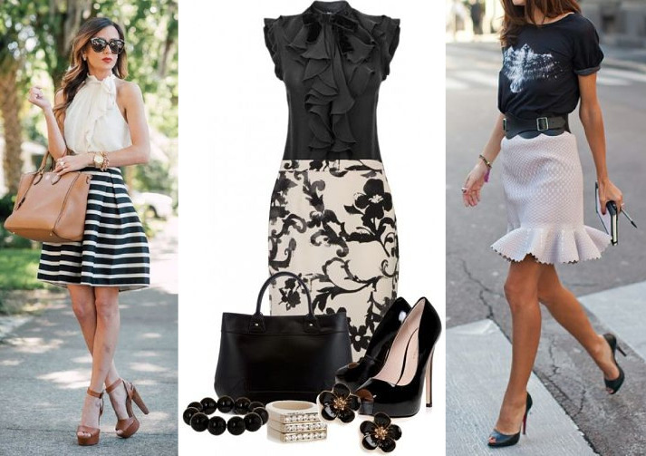black and white outfits with ruffles