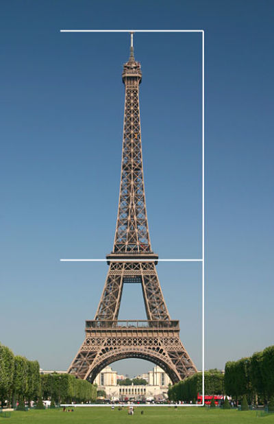 Eiffel Tower example of golden ratio