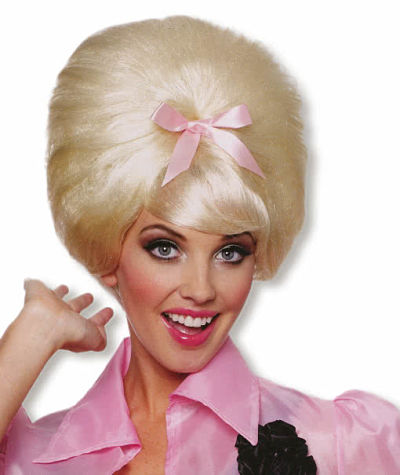 1950s era look with blond beehive hair