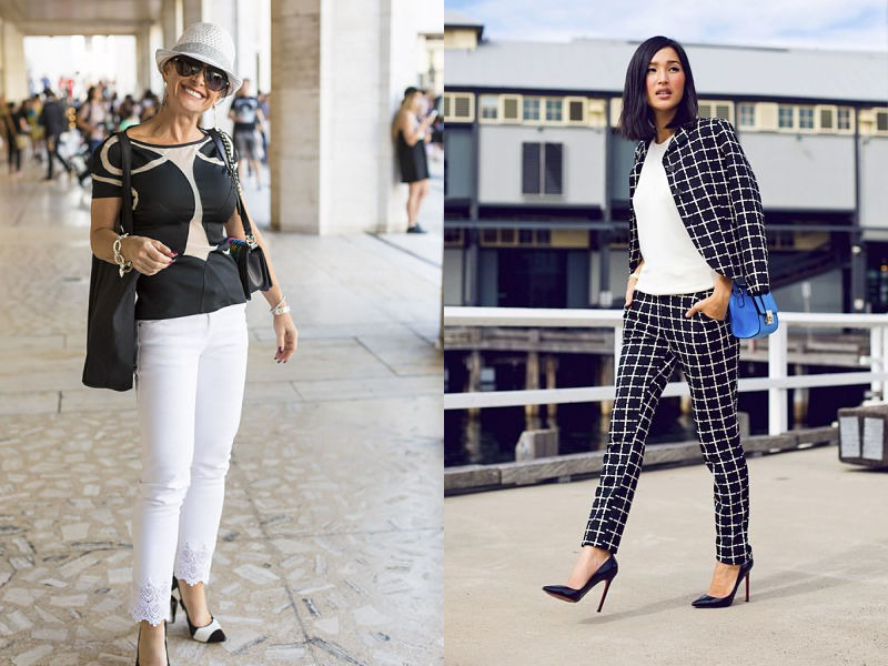 black and white trends in pants sets