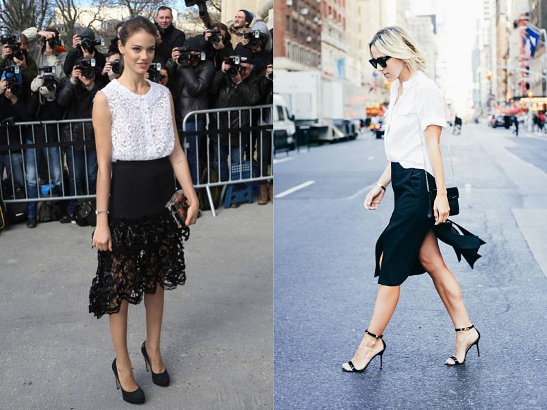 black and white trend in skirt separates