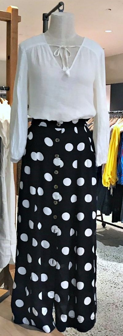 B&W polka dot skirt and white blouse