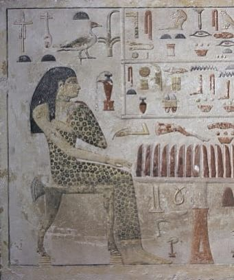 Egyptian painting of girl in leopard print