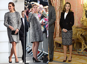 European royalty Kate Middleton and Queen Letizia in leopard outfits