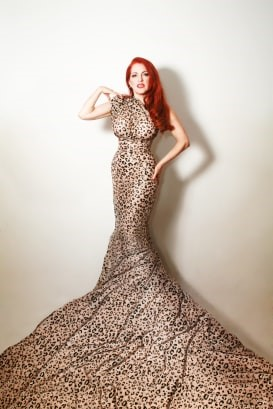 girl in leopard print mermaid gown