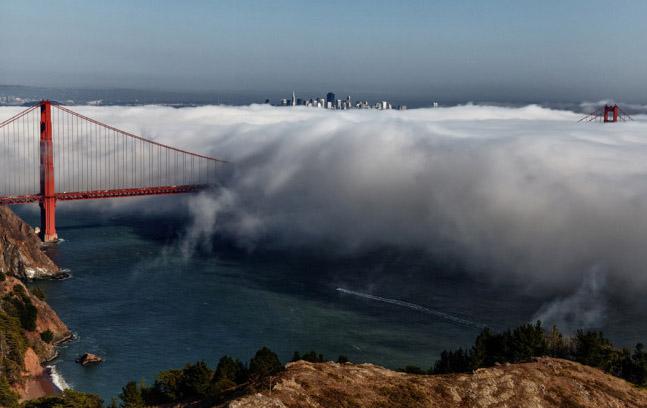 The foggy Golden Gate.