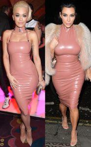 Rita Ora and Kim Kardashian in the same latex dress.
