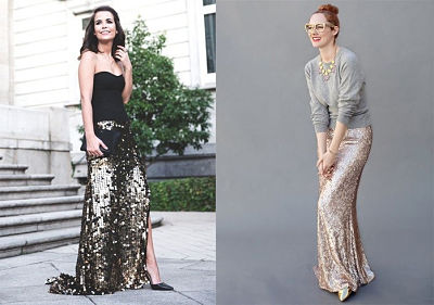Maxi sequin skirts