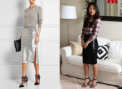 sequin skirts different tops