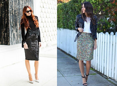 sequin skirts with different accessories