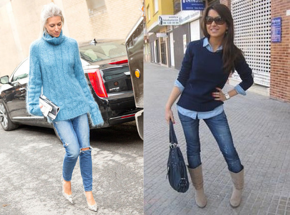 sweater and blue jeans