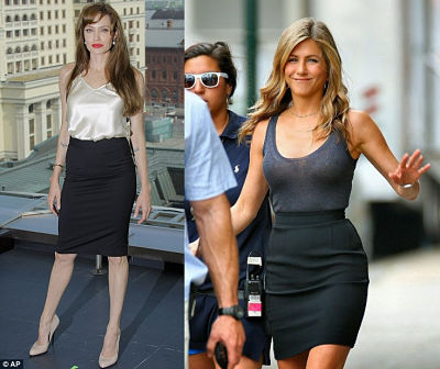 Angelina Jolie and Jevvifer Anniston in pencil skirts