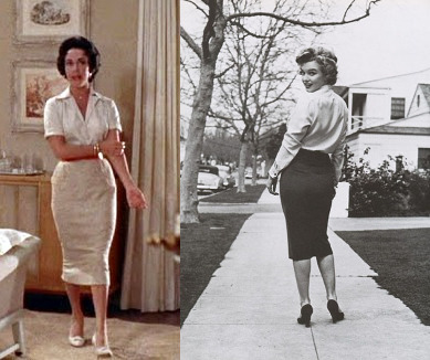 elizabeth Taylor and Marilyn Monroe in pencil skirts