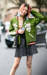 Colorful quilted jacket with mini skirt.