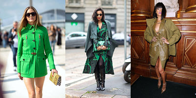 green and olive monochromatic outfits