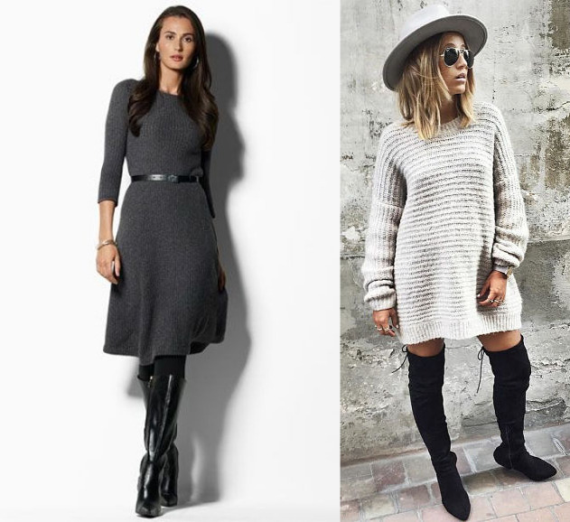 A-line and straight siihouette sweater dresses