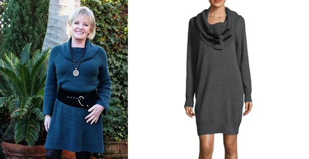 jennifer in sweater dress and removable cowl sweater dress