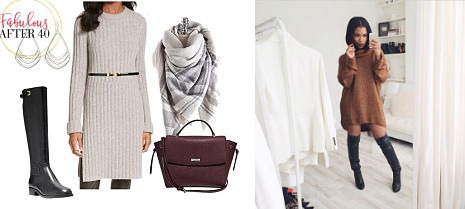 wear the sweater dress with boots