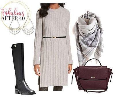 -sweater dress with belt