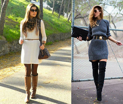 Belted sweater dresses