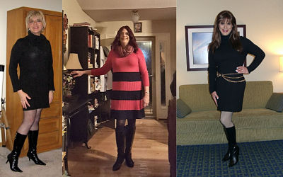 Crossdressers in sweater dress and boots