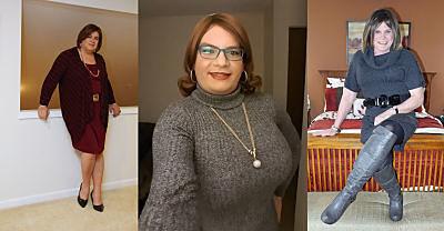 Plus size CDs in sweater dress_